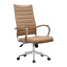Ergonomic High Back Swivel Boss Ribbed PU Leather Office Chair Modern, Beige