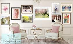 Elegant Feminine Living Room with Gallery Wall Display