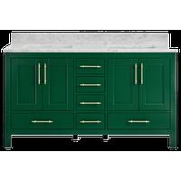 "Kendall Emerald Green Bathroom Vanity, 60"", Vanity With Carrara Marble Top"
