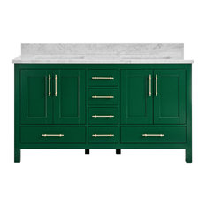 "Kendall Emerald Green Bathroom Vanity, 60"", Vanity With Carrara Marble Top"