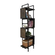 Tucson Modern Industrial Etagere Bookcase Display Black Steel/Dark Wood