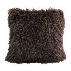 Mangolian Faux Fur Pillow, 18x18 Chocolate