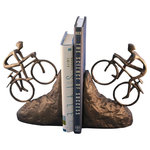 Rustic Deco - Bike Climbing Bookends, Mountain Bike, Metal, Cast Iron - The mountain bike devotee will embrace these cast iron bookends depicting riders making a climb.
