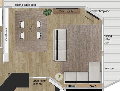 Living Room Layout Corner Fireplace Sliding Doors Open