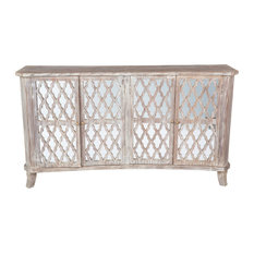 Kosas - Kosas Home Hand Crafted Trellis Antique White Reclaimed Teak 4 Door Sideboard, 7 - Buffets and Sideboards
