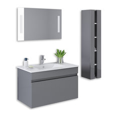 kokss kokss wall mount high gloss vanity set gray 32 bathroom - Wall Mounted Bathroom Vanity