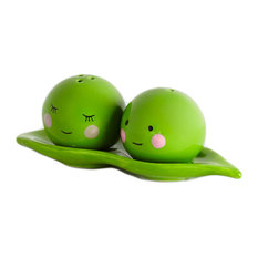 Peas in a Pod Green Ceramic Magnetic Salt and Pepper Shakers Set