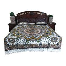 Mogul Interior - Indian Hand Block GALICHA Printed Home Furnishings 100 % Cotton Queen 3 Pcs Bed - Blankets