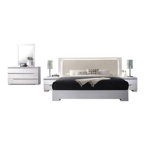 Athens, White Lacquer 5-Piece Platform Modern Bedroom Set, Eastern King