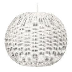 Handwoven Wicker Ball Pendant Light, Diameter 18 inch, White