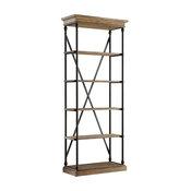 Eleanor Cornice 5-Shelf Narrow Bookcase, Brown