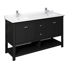 """Fresca Manchester 60"""" Black Double Sink Cabinet, Top and Sinks"""