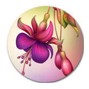 """Fuchsia Flowers With Green Leaves, Floral Round Wall Art, 23"""""""