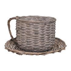 Kingfisher Wicker Coffee Cup Shaped Garden Planter