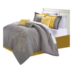 chic home pink floral yellow comforter bed in a bag set 12piece