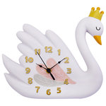 Fantasy Fields - Fantasy Fields, Swan Lake Wall Clock - Looking for a fun and creative way to help your children tell time? Bring your kids home the gorgeous Swan Lake clock and make telling time easy and memorable. Clock features an elegant white swan wearing a crown with large numbers to make it easy to tell time. Your children will love telling time with this structure and it will look beautiful in any nursery.