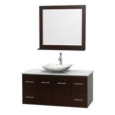 "Centra 48"" Espresso Single Vanity, White Carrera Marble Top, Carrera Marble Sink"