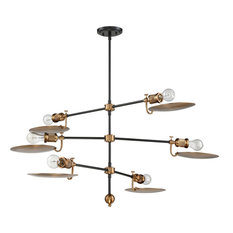 Eclipse 6 Light Chandelier in Flat Black And Patina Aged Brass