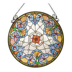 "CHLOE-Lighting NORAH Victorian Tiffany-glass Window Panel 24"" Tall"