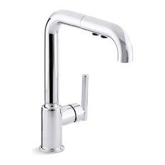 "Kohler Purist Single-Hole Kitchen Faucet w/ 8"" Pull-Out Spout, Polished Chrome"