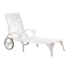 Home Styles Biscayne Patio Chaise Lounge Chair in White