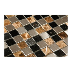 "12""x12"" Stainless Steel and Stone Sepia Mix Mosaic"