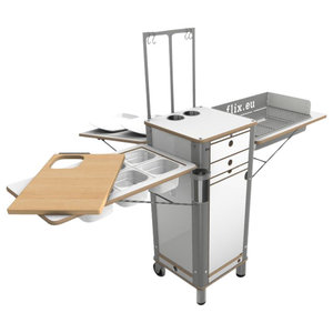 Live Moving Kitchen, Charcoal Grill With 2 Wheels and 2 Feet, Pearl White