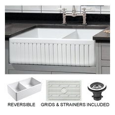 Sutton Place Reversible Farmhouse 55/45 Double Bowl Sink, Grid, Strainer, 33""