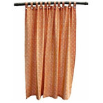 Tilonia® - Tilonia Shower Curtain, Mod Pod, Pumpkin Orange - Shower curtain in Mod Pod in Pumpkin Orange block print, hand printed on natural cotton fabric. Curtain has tab for closure with pearl button on front and button on back to attach liner. No shower curtain rings are necessary.