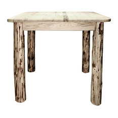 Montana Counter Height Square 4 Post Dining Table, Clear Lacquer Finish
