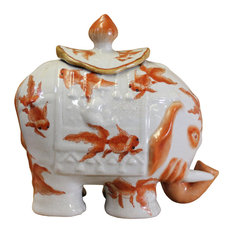 Oriental Crackle Off White Base Orange Fishes Elephant Shape Urn