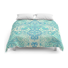 Botanical Geometry, Nature Pattern in Blue, Mint Green and Cream Comforter, King