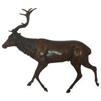 """Running Deer Bronze Statue, 15""""x4""""x13"""""""