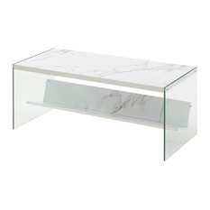 Convenience Concepts SoHo Coffee Table in Faux White Marble Wood Finish