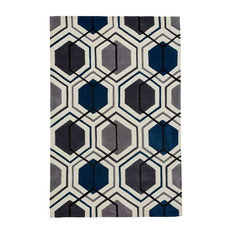 Hong Kong Hexagon HK7526 Rug, Grey and Navy, 120x170 cm