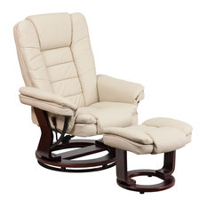 Flash Furniture - Leather Recliner and Ottoman With Swiveling Mahogany Wood Base Beige - Recliner  sc 1 st  Houzz & Contemporary Recliner Chairs | Houzz islam-shia.org