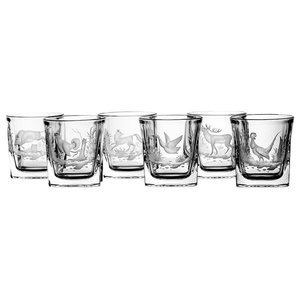 Wild Animals Engraved Lead Crystal Whisky Glasses, Set of 6
