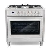 "Cosmo 36"" Pro Chef Style Dual-Fuel Range True Convection Oven"