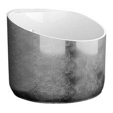 Mini Shower Bathtub in Silver Leaf/Glossy White