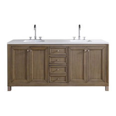 "Chicago 72"" White Washed Walnut Double Vanity, Black Rustic Top"