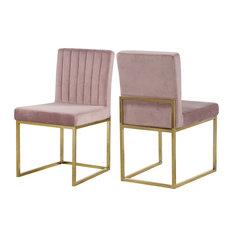 Giselle Velvet Dining Chairs, Set of 2, Pink, Gold Base