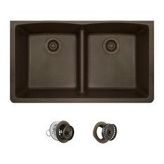 Low-Divide Double Bowl Kitchen Sink, Mocha, Colored Strainer/Flange