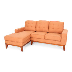 Gdfstudio Penny 3 Seater Tufted Exposed Wood Chaise Sectional Sofa Set Burnt Orange