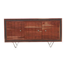 Solid Wood Mid-century Sideboard Cabinet With Triangular Feet