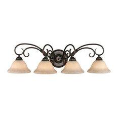 Golden Lighting 8606-BA4-RBZ-TEA Homestead 4 Light Bathroom Vanity Lights in Rub