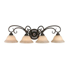 Homestead 4-Light Bath Vanity in Rubbed Bronze With Tea Stone Glass
