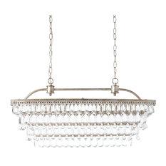 Antique Silver 6-light Rectangular Glass Droplets Chandelier