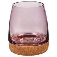 Stemless Wineglass w/cork coaster, Pink