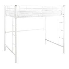 Metal Full Loft Bed, White