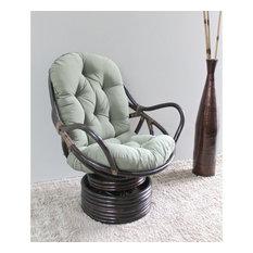 International Caravan Bali Rattan Swivel Rocker Chair-Indigo